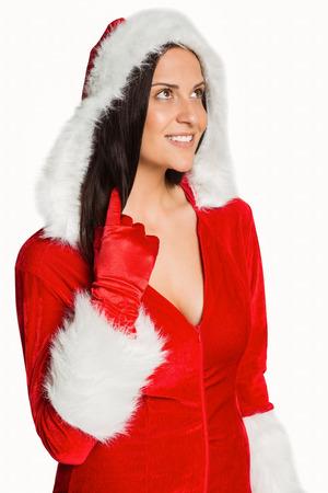 pere noel sexy: Femme portant des v�tements sexy de No�l sur fond blanc