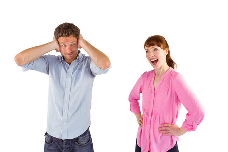 Woman arguing with ignoring man on white background photo