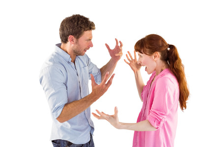 couple arguing: Couple arguing with each other on white background