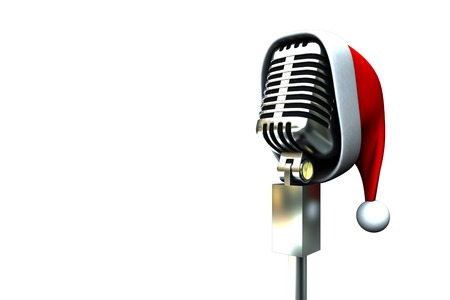 Retro microphone with santa hat on white background Stock Photo