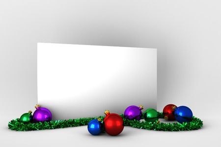 unknown age: Poster with colourful christmas decorations on white background