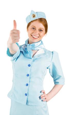 hotesse de l air: H�tesse de l'air jolie main sur la hanche sur fond blanc Banque d'images
