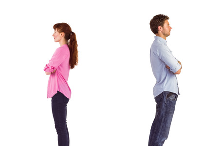 facing away: Man and woman facing away from each other on white background
