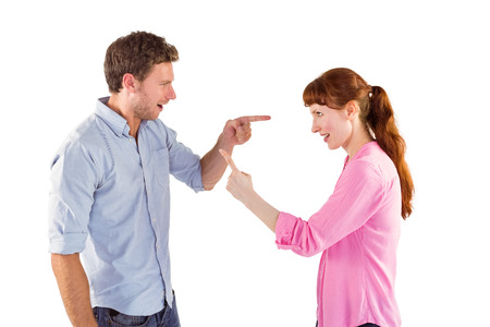 Couple arguing with each other on white background photo