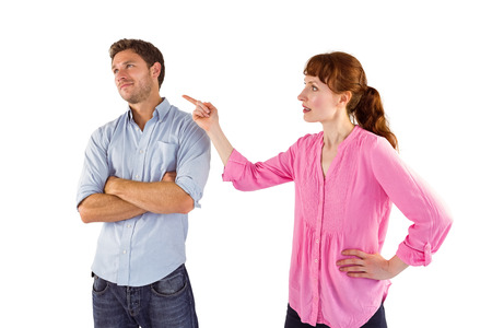 Woman arguing with uncaring man on white background photo