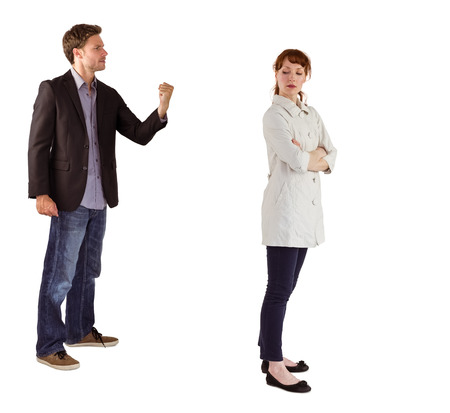 Man shaking fist at woman on white background photo