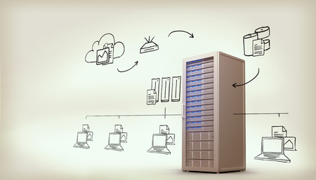 wireless data: Cloud computing doodle against digitally generated server tower Stock Photo