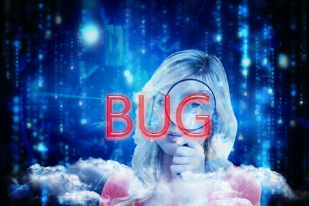 The word bug and fair-haired woman looking through a magnifying glass against lines of blue blurred letters falling photo