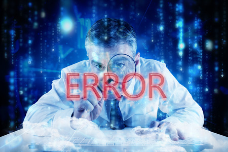 The word error and mature businessman examining with magnifying glass against lines of blue blurred letters falling photo