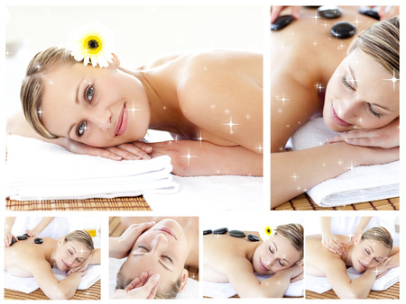 Collage of an attractive young girl being massaged  against snow photo