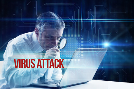 The word virus attack and mature businessman examining with magnifying glass against blue technology interface with circuit board photo