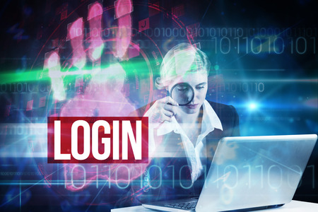 The word login and redhead businesswoman using her laptop against red technology hand print design photo