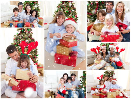 Collage of families celebrating Christmas together at home against snow falling photo