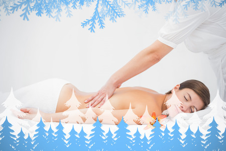 Attractive woman receiving back massage at spa center against frost and fir trees photo