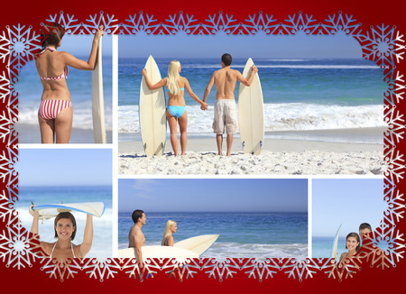 having fun in winter time: Collage of couple on the beach against snowflake frame