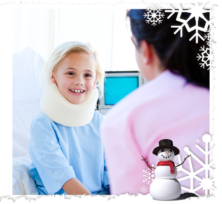 Adorable little girl with a neck brace talking with a nurse against christmas themed frame photo