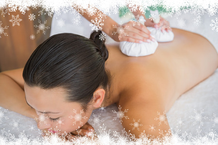 Content brunette getting a herbal compress massage against fir tree forest and snowflakes photo