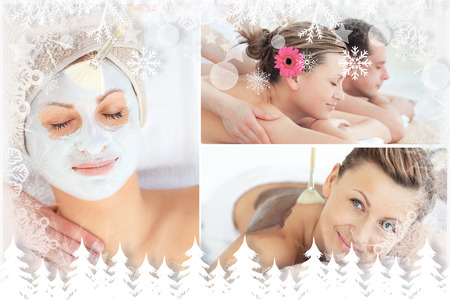 Collage of an attractive couple having relaxation treatments against fir tree forest and snowflakes photo