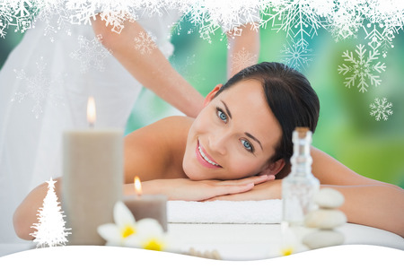 Beautiful brunette enjoying a back massage smiling at camera against fir tree forest and snowflakes photo