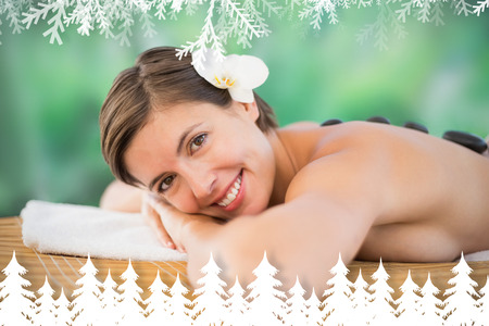 Beautiful woman receiving stone massage at health farm against fir tree forest and snowflakes photo