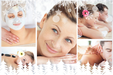 Collage of young people having relaxation treatments against fir tree forest and snowflakes photo