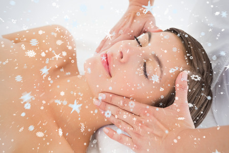 Attractive young woman receiving facial massage at spa center against snow photo