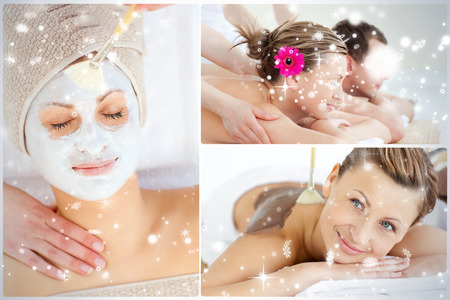 Collage of an attractive couple having relaxation treatments against snow falling photo