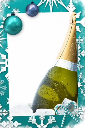 Christmas frame against champagne chilling on ice photo