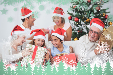 swapping: Family swapping christmas presents against snowflakes and fir trees in green