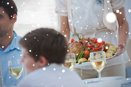 Composite image of Family during a dinner against snow photo