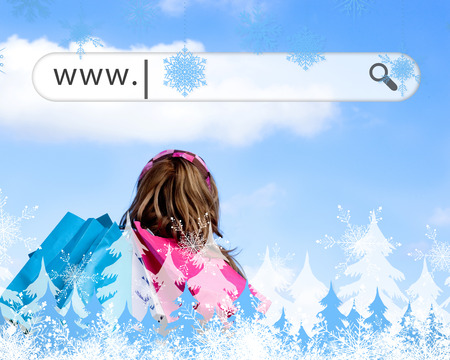 address bar: Girl holding shopping bags with address bar above against snowflakes and fir trees