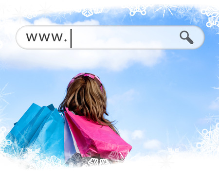 address bar: Girl holding shopping bags with address bar above against frost frame Stock Photo