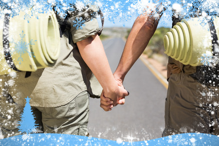 Hitch hiking couple standing holding hands on the road against snow photo