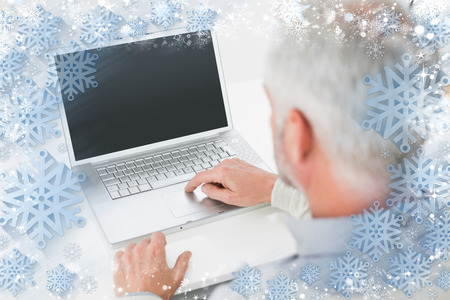 grey haired: Closeup rear view of a grey haired man using laptop at desk against snow