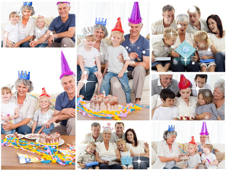 Collage of families enjoying celebration moments together at home against snow falling photo