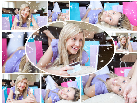 Montage of happy young woman who has been shopping against snow falling photo