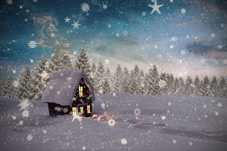 cane plumes: Composite image of christmas house against fir tree forest in snowy landscape