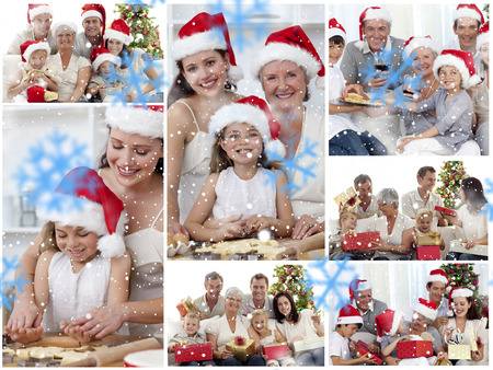Collage of families enjoying celebration moments together at home against snowflakes photo