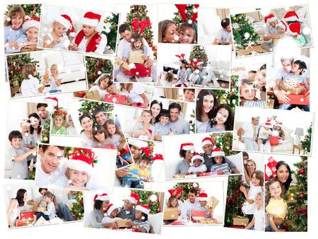 snow falling: Collage di famiglie festeggiano il Natale contro la neve caduta