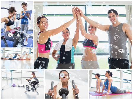 Collage of happy people at the gym against snow photo