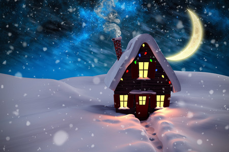 cane plumes: Composite image of christmas house against aurora night sky in blue