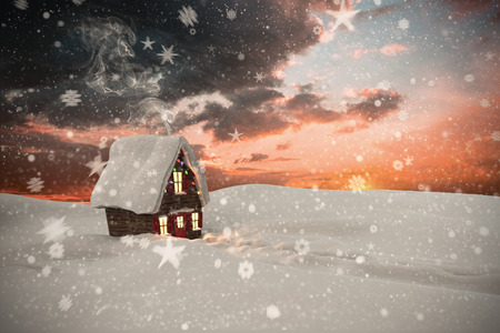 cane plumes: Composite image of christmas house against orange and blue sky with clouds