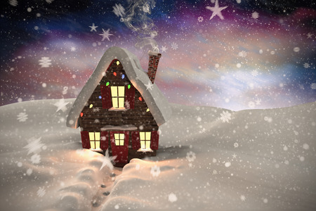 cane plumes: Composite image of christmas house against aurora night sky in purple