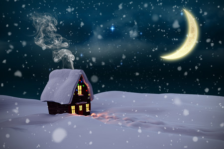 cane plumes: Composite image of christmas house against stars twinkling in night sky Stock Photo