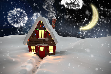 cane plumes: Composite image of christmas house against white fireworks exploding on black background Stock Photo