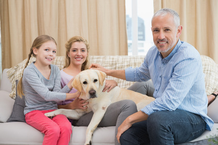 Parents and daughter with pet labrador at home in the living room photo