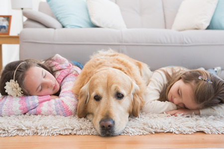 animals and pets: Sisters napping on rug with golden retriever at home in the living room