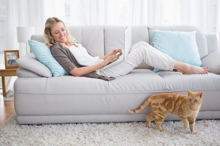 domestic: Pretty woman lying on sofa using her laptop at home in the living room Stock Photo