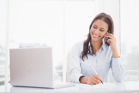 lady on phone: Happy businesswoman using laptop at her desk in her office