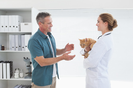 Vet handing a cat to its owner in her office photo